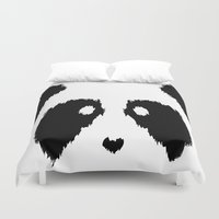 boobs Duvet Covers featuring Panda Boobs by Lizard Illustration