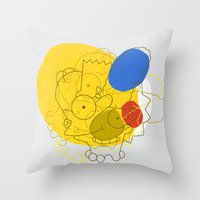 simpsons Throw Pillows featuring Simpsons Van D'oh by Jason Adams