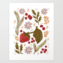 Happy Holidays Berries and Holly Art Print