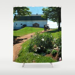 Horse Drawn Carriage on Farm in PEI Shower Curtain