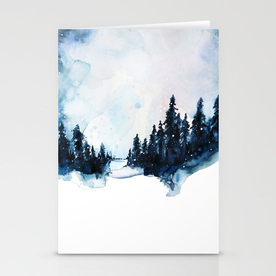 Winter Watercolor Stationery Cards