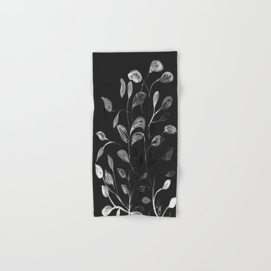 Red and Green Leaves! Monochrome Black and White and Grey Hand & Bath Towel