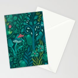Emerald forest keepers. Magic woodland creatures. Stationery Cards