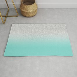 Modern Girly Faux Silver Glitter Ombre Teal Ocean Color Block Rug