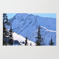 skiing Area & Throw Rugs featuring Back-Country Skiing  - V by Alaskan Momma Bear
