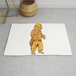 Construction Worker Grizzly Bear Rug