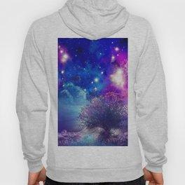 purple blue galaxy landscape Hoody