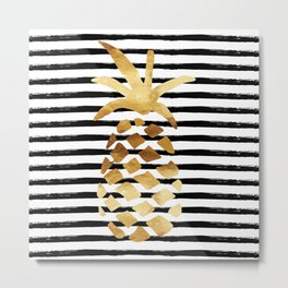 Pineapple & Stripes Metal Print