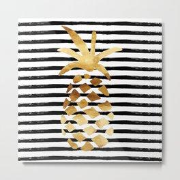 Pineapple & Stripes Metal Print