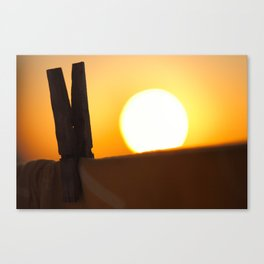 Clothes peg at sunrise Canvas Print
