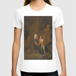 Jan Steen - An Old Lady with a Young Boy, in an Interior T-shirt