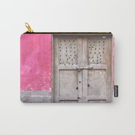 Grey Door on Pink Wall (Retro and Vintage Urban, architecture photography) Carry-All Pouch