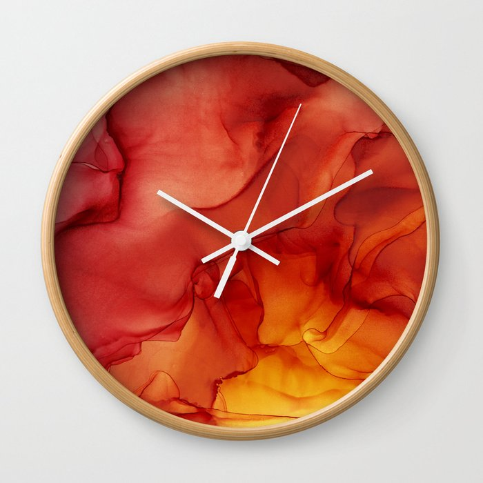Red Sunset Abstract Ink Painting Red Orange Yellow Flame Wall Clock By Olechka