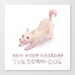 Yoga dog (the down-dog) Canvas Print