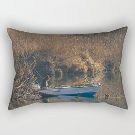 Fisherman on a boat by the river in the early morning Rectangular Pillow