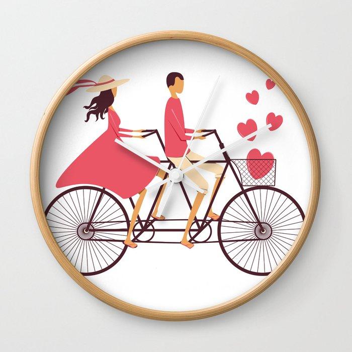 Love Couple riding on the bike Wall Clock