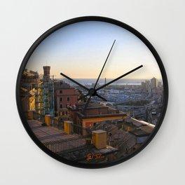 Tramonto a Genova Wall Clock