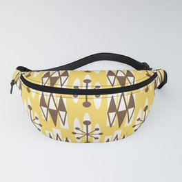 Retro Mid Century Modern Atomic Triangles 728 Brown and Yellow Fanny Pack