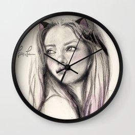 Peonie cat Wall Clock