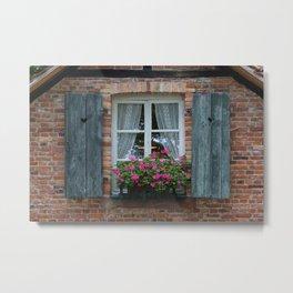 Window and Flowers Metal Print