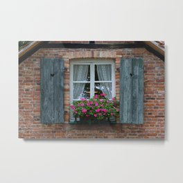 Window and Flowers Metal Print
