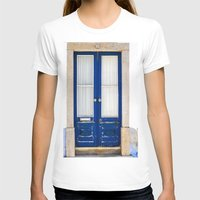 portugal T-shirts featuring Door Ericeira Portugal blue by Sébastien BOUVIER