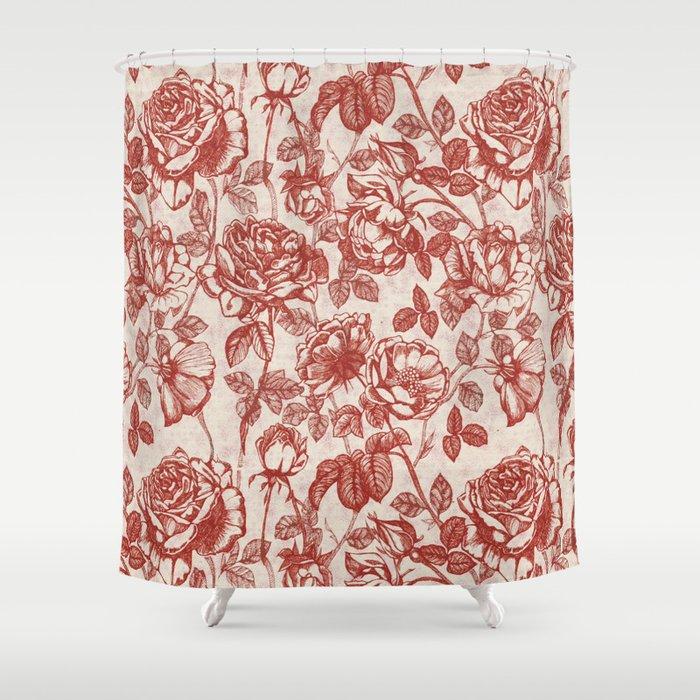 Toile De Jouy Roses Shower Curtain