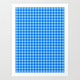 Baby Blue and Brandeis Blue Diamonds Art Print