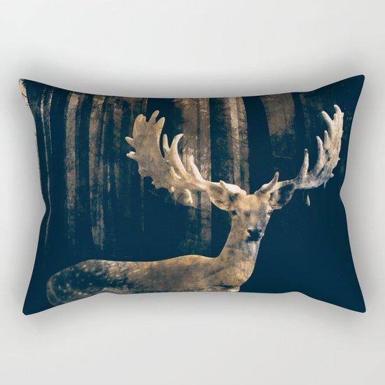 Deer in the dark forest Rectangular Pillow