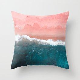 Turquoise Sea Pastel Beach II Throw Pillow