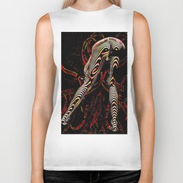 8386-KMA Zebra Striped Woman Bending Over Red Biker Tank