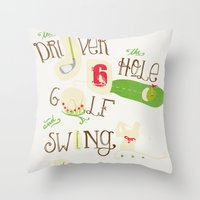 golf Throw Pillows featuring Golf  by Crea Bisontine