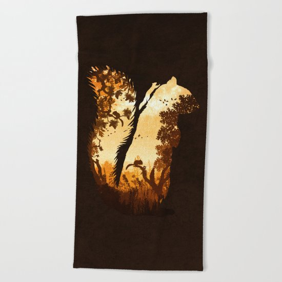 Squirrels in the Fall Beach Towel