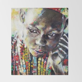 Reverie - Ethnic African portrait Throw Blanket