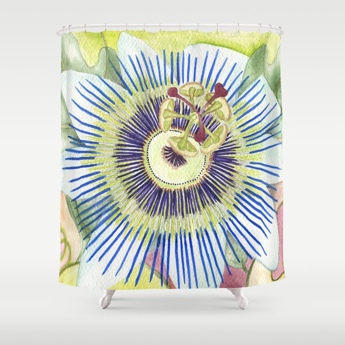 Passionflower Watercolor Shower Curtain