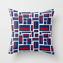 Modern Geometric in Red, White and Blue Throw Pillow