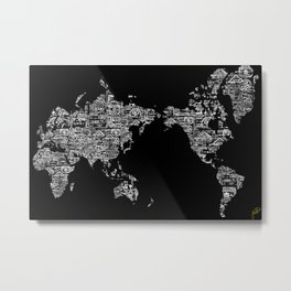 Passport Stamp Map Special Edition, Black and White Metal Print
