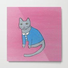 Gray Cat in a Blue Button-Down Shirt Metal Print