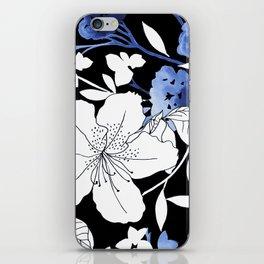 Black White Blue Floral iPhone Skin