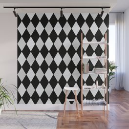 Harlequin Black and White and Gray Wall Mural