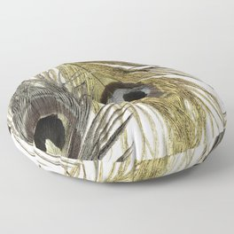 Gold and Silver Peacock Feathers Floor Pillow