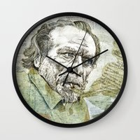 bukowski Wall Clocks featuring Charles Bukowski by Nina Palumbo Illustration