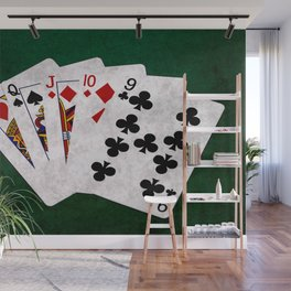Poker Hand Straight King Queen Jack Ten Nine Wall Mural