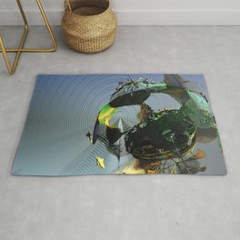 Mysterious Flying Vehicle Landing Rug