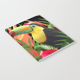 Bold Golden Geometric Tropical Bouquet With Toucan Notebook