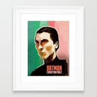 christian schloe Framed Art Prints featuring Christian Bale  by Martynas Juchnevicius