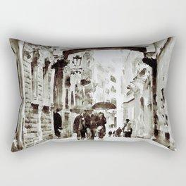 Carrer del Bisbe - Barcelona Black and White Rectangular Pillow