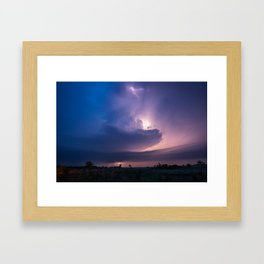 Lighthouse - Lightning Reveals Towering Storm Cloud After Dark in Oklahoma Framed Art Print