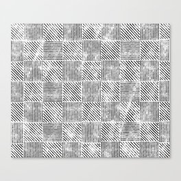 White and Black Distressed Diagonal Lines Pattern Vintage Unique Artistic Style Design Canvas Print