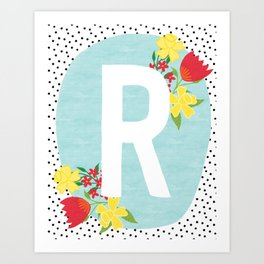 7b830e8ea R botanical monogram. Letter initial with tulips and daffodils poster Art  Print